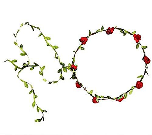 CAOLATOR Diadema Corona de Flores guirnaldas Secas Decoradas Flores Dama Boda Fiesta Tema de la Playa Mujeres Niñas Accesorios Cabello 5 Colores (Diámetro 26CM) (rojo)