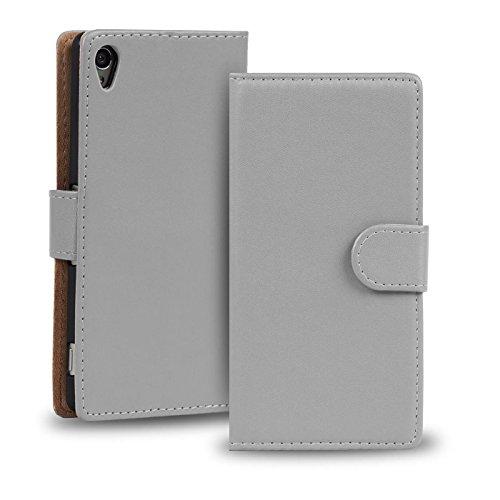 Verco Xperia Z2 Hülle, Handyhülle für Sony Xperia Z2 Tasche PU Leder Flip Case Brieftasche - Grau