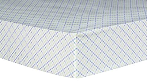 Trend Lab Forest Tales Plaid Fitted Crib Sheet White/Blue/Green