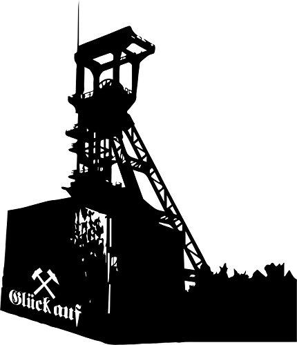 Wandtattoo: Förderturm Bergbau; Tiefbauzeche; Zeche 'Holland'; Glück Auf // Farben- und Größenwahl (Schwarz - 530 mm x 450 mm)