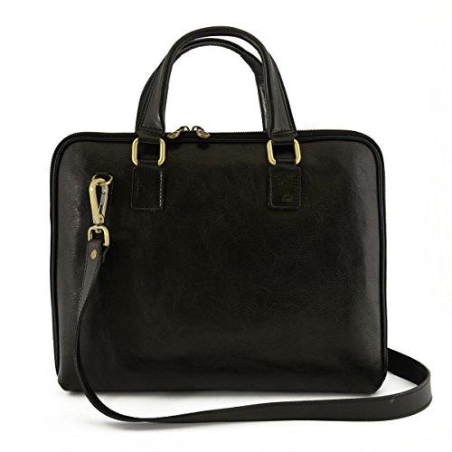 Leder Aktentaschen Mit Reißverschluss Und Zwickel Farbe Schwarz - Italienische Lederwaren - Aktentasche (Aus Zwickel-aktentasche Leder)
