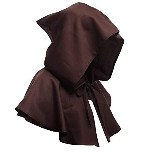 Dieb Renaissance Kostüm - Ecisi Unisex Vintage Mittelalter Haube Hut Reine Farbe Wicca Pagan Hood Cosplay Zubehör Friar Hooded Robe Mönch Renaissance Priester Robe für Halloween Cosplay Kostüm