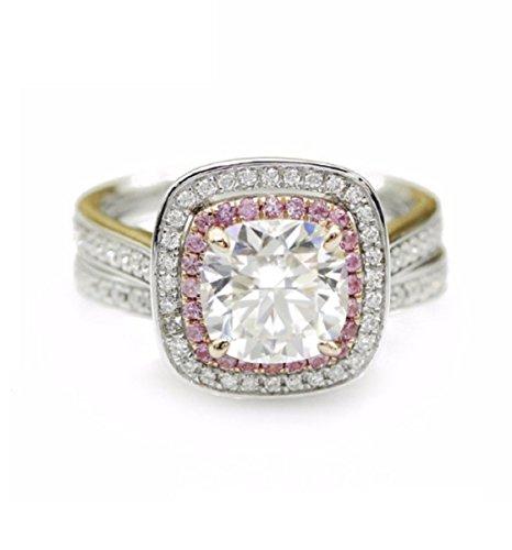 Gowe 7,5mm Luxus Kissen Schnitt Simuliert Diamant 925Sterling Silber Halo Brautschmuck Sets (Halo Diamant Versprechen Ringe)