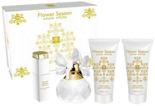 Jean Pierre Sand Coffret Flower Season Snow White pour Femme 100 ml + Eau de Parfum 15 ml + Lotion Hydratante 120 ml + Gel Douche 120 ml