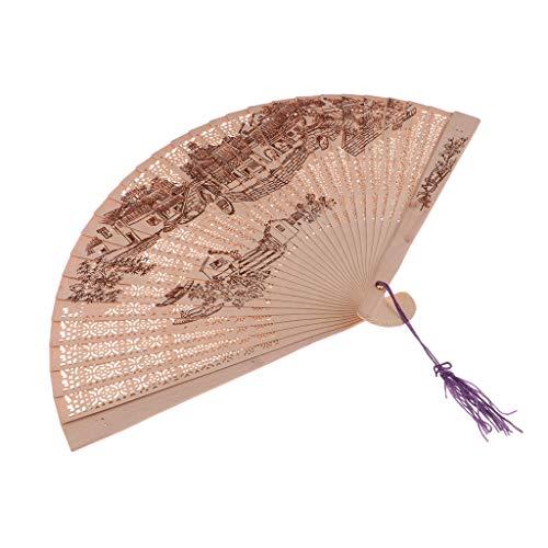 FLAMEER Vintage Handfächer Chinesischer Faltfächer Klappfächer Sandelholz Fächer Party Kostüm Zubehör - Stadt (Kostümen Eine Party Stadt)