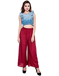 CAY® Maroon Color Solid Stylish Plazzo With Elastic Waist And Western Wear ( SIZE : FREE SIZE )