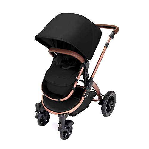 Ickle Bubba Stroller, Baby Travel System | Bundle incl Rear and Forward-Facing Pushchair, Car Seat, Carrycot, Footmuff and Raincover | Stomp V4 Special Edition, Midnight/Bronze