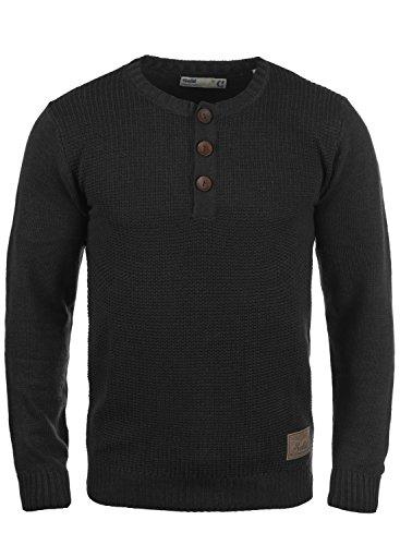!Solid Terrance Herren Strickpullover Feinstrick Pullover Mit Rundhals Und Knopfleiste, Größe:M, Farbe:Black (9000)