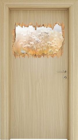 Romantische Blumenwiese Schwarz/Weiß Holzdurchbruch im 3D-Look , Wand- oder Türaufkleber Format: 62x42cm, Wandsticker, Wandtattoo, Wanddekoration