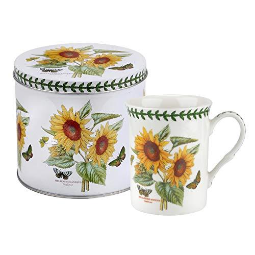 Botanic Garden Sonnenblume Motiv Becher und Zinn Set, Porzellan, Mehrfarbig, 13x 13x 11,5cm -