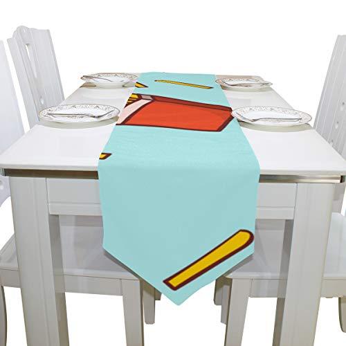(Yushg Cool Französisch Frites Cartoon Food Mode Kommode Schal Tuch Abdeckung Tischläufer Tischdecke Platzdeckchen Küche Esszimmer Wohnzimmer Home Hochzeitsbankett Dekor Indoor 13x90 Zoll)