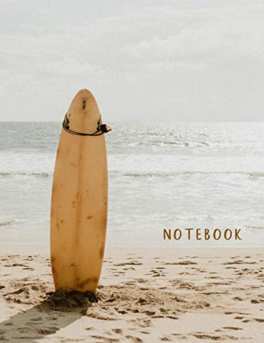 Notebook: Large format (letter size). 120 Lined pages. Wide ruled. Ideal for School notes, Journaling, Hand lettering or Calligraphy practice. Perfect ... (Ocean, beach, surf board. Soft matte cover). Surf-mat