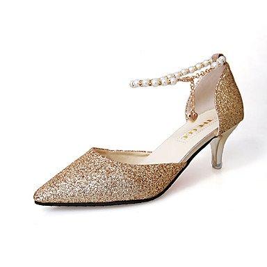 delle donne sandali estivi Comfort PU casual tacco basso Walking perline Nero Bianco US6 / EU36 / UK4 / CN36
