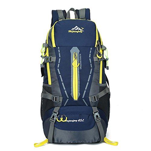 HWJF Großer Kapazitäts-45L Beutel-Spielraum-Schulter-Beutel-Sport-Spielraum-Bergsteigen-kampierender Rucksack für Männer und Frauen Dark Blue