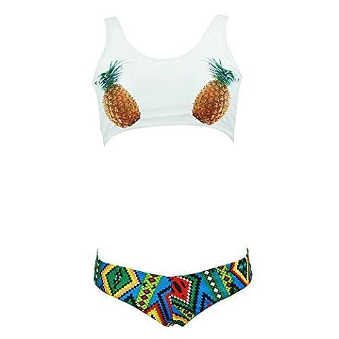 DELEY Femmes Filles Belle Ananas Print Ethnique Modèle Sexy Sport Bikini Brésilienne Maillots De Bain Swimwear Swimsuit Blanc Taille
