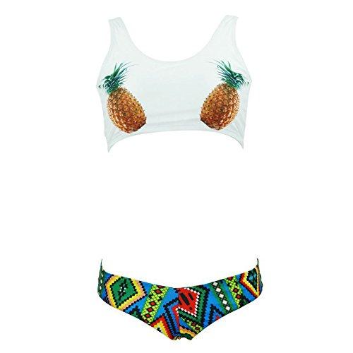 DELEY Damen Mädchen Schöne Ananas Print Ethno Muster Gepolsterte Sport Bikini Brasilianische Bademode Badeanzug Swimwear Beachwear Weiß Größe S (Bikini-badeanzug Brasilianische)