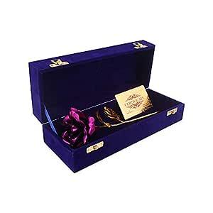Msa Jewels Artificial Rose Flower And Box & Certificate (Purple, 1 Piece)