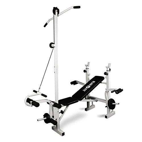 Klarfit HB2RT Banco de pesas • Banca de Musculación completo para casa • Incluye Barra, poleas y curlers para ejercicios variados • Altura ajustable • Agarre acolchado en PVC alta calidad • Acero