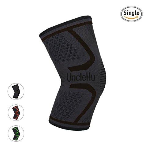 UncleHu Kompression Kniebandage für Sportschutz Verletzte Gelenk Schmerzlinderung und Nahtlose Kniestütze Verbesserung der sportlichen Leistung-Prevent Slippery Slippery(Schwarz S,Single Wrap)