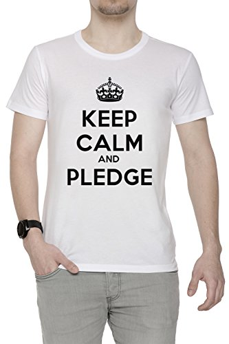 keep-calm-and-pledge-uomo-t-shirt-bianco-cotone-girocollo-maniche-corte-white-mens-t-shirt