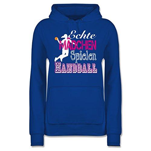 Shirtracer Handball - Echte Mädchen Spielen Handball weiß - S - Royalblau - JH001F - Damen Hoodie