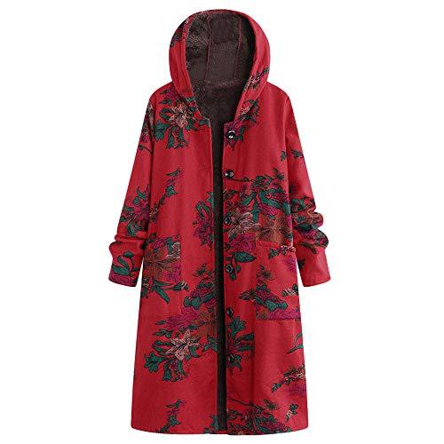 Coupon Matrix - Women Plus Size Long Coat=Ladies Long Sleeve Floral Print Button Hooded Jacket=Vintage Cotton Linen Fluffy Outwear Size 12-22 (Red, 22 UK)