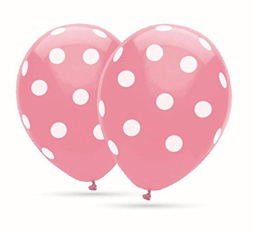 Rosa Ballons mit weißen Punkten 30cm Durchmesser, 12