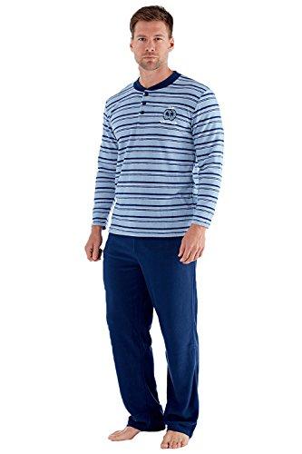 Harvey James Herren Luxus weich gestreift Pyjama Set Blau Gestreift