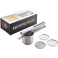 Fully Fresh! Premium Kartoffelpresse aus Edelstahl, rostfrei & spülmaschinenfest, Obst-/Spätzlepresse (Multipresse mit 3 Siebeinsätzen u.a. für Spaghettieis), 350ml | inkl. eBook