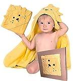 BabyCrate Kapuzenbadetuch im Löwen-Design 100% Bio-Baumwolle weich und dick - Premium-Qualität - Perfekt als Geschenk für Neugeborene, Säuglinge und Kleinkinder, 75x75 cm