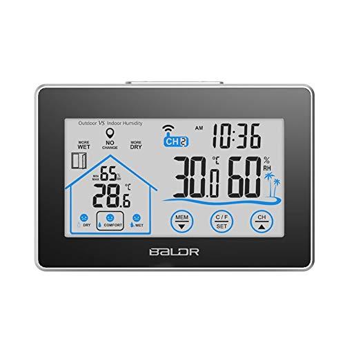 TLfyajJ Touch Screen Wireless Interno ed Esterno termometro igrometro Orologio da Parete Temperatura e umidità Stazione metereologica Nero