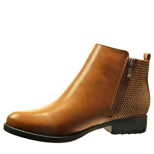 Angkorly damen Schuhe Stiefeletten - Reitstiefel - Kavalier - Strass - Reißverschluss Blockabsatz 2.5 CM Camel