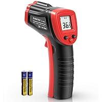 Eventek  - Termómetro Infrarrojo Digital Laser IR Sin Contacto, Pistola de Temperatura (-50 ℃ ~ 380 ℃), Negro y Rojo