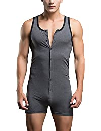 AWEIDS para hombre algodón ropa interior sexy leotardo Comfy Jumpsuits