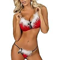 Navidad de BaZhaHei Pelusa Blanca Malla de Navidad Mujeres Ropa Interior Rizada Traje Ropa Interior Tentación Señoras de Navidad de Malla de Ropa Interior Sexy Perspectiva Camisetas