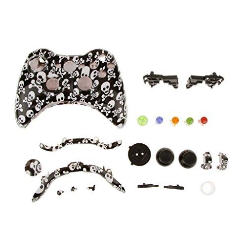Caso de Sustitución Botón de Cáscara Kit para Xbox 360 Controlador Cráneo Negro y Blanco