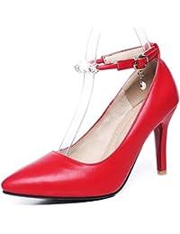Easemax Damen Elegant Lackleder Knöchelriemchen Plateau Pumps Schuhe Rot 43 EU foSNDcv