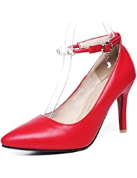 Easemax Damen Elegant Lackleder Knöchelriemchen Plateau Pumps Schuhe Rot 43 EU