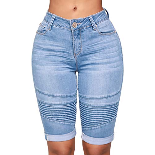 Floral Elasthan Jeans (Zolimx Damen Mid Rise Elastic Zip Skinny Denim Knielang Curvy Stretch Shorts Jeans)