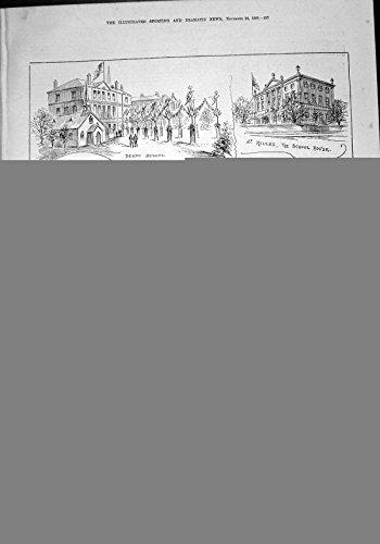 Stampa Antica di Sir H Wilmott 1888 della Camera della Scuola di Principe Galles Derby School St Helens