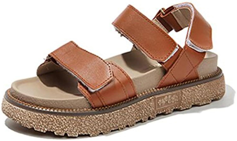 LIXIONG verano mujer sandalias Wedgies Fondo grueso Zapatos retro con punta abierta Velcro, Con alto 4cm, 3 colores...