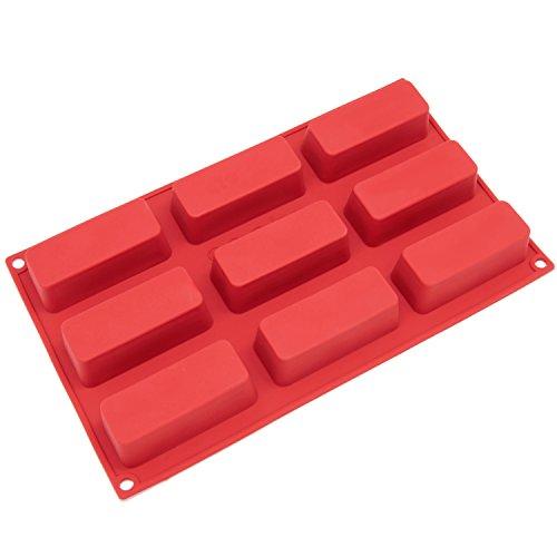 Freshware 9-Cavity schmal Silikonform für Seife, Silikon, rot, S Holiday Loaf Pan