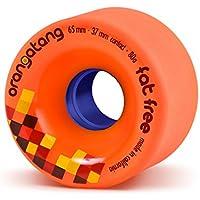 Orangatang Fat Free 65 mm 80a Freeride Longboard Skateboard Wheels (Orange, Set of 4)