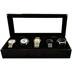 SLK Handcrafted Luxury Watch Box (Black, 5 Watches)