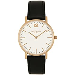 Mike Ellis New York Unisex Quartz Watch with White Dial Analogue Display and Leather bronze - SL4564H3