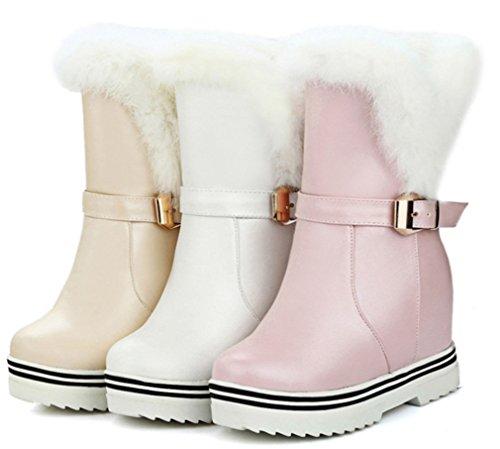 YE Damen Winter Wedges Plateau Stiefeletten mit Fell Keilabsatz Warm gefüttert Schnallen Wasserdicht 3cm Absatz Schneestiefel Schuhe Beige