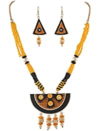 Zephyrr Jute Lightweight Handmade Jewellery Pendant Necklace Earring Set With Wooden Beads For Girls And Women