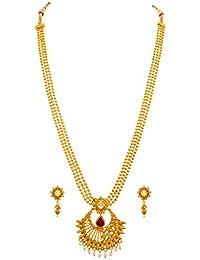 JFL -Traditional Ethnic One Gram Gold Plated Kundan & Pearl Designer Necklace Set For Women.