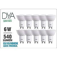 Juego de 10 Bombillas LED Spotlight GU10 Dya Ø50 x 62, 6W 540 lúmenes, luz fría 6000 K °