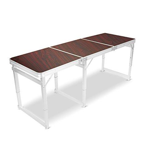 WZLDP Stabile 1,8 m Klapptisch Esstisch Stalltisch Außentisch Tragbarer Aluminiumtisch Haushalt super stark und stabil Langer Vierkantrohr-Klapptisch...